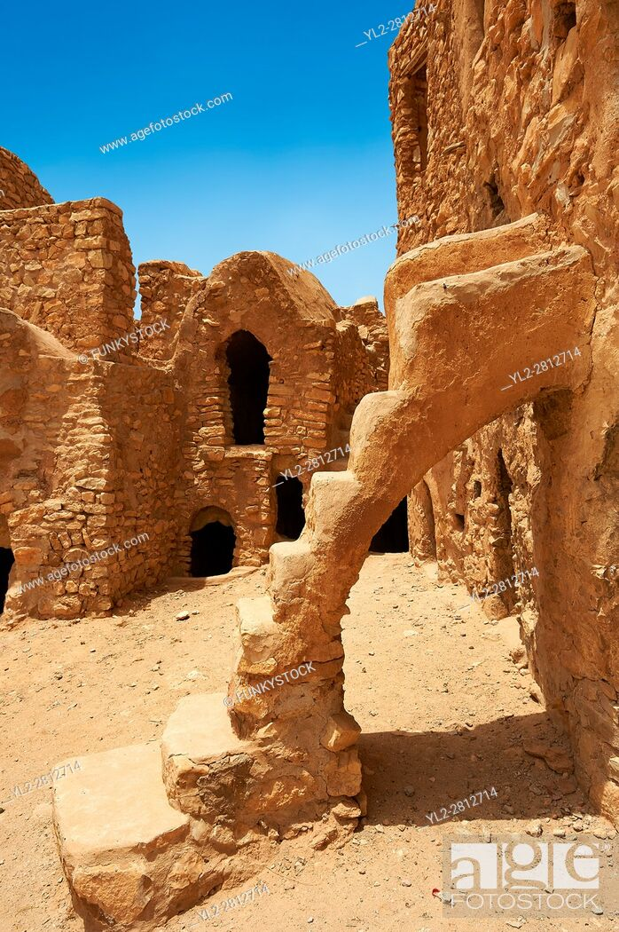 Stock Photo: The traditional north Sahara fortified Berber Ksar El Mguebl and its adobe mud ghorfas graneries, near Tataouine, Tunisia.