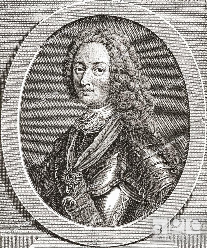 Stock Photo: Louis d'Orléans, duc d'Orléans,1703 – 1752  Duke of Orléans and a member of the French royal family  From Les Heures Libres published 1908.