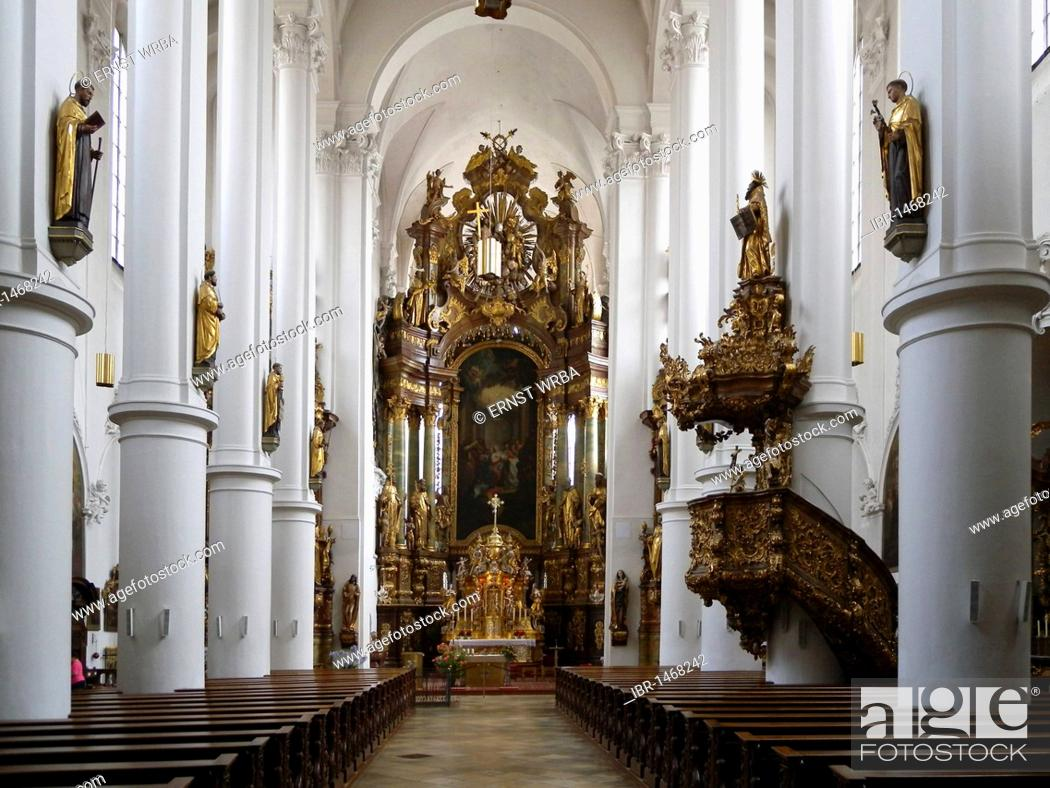 Interior of the church of the Carmelite monastery, Straubing