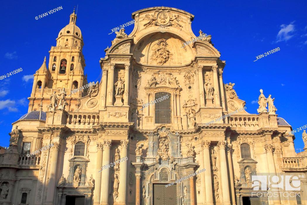 Stock Photo: Cathedral, Murcia, Murcia, Spain.