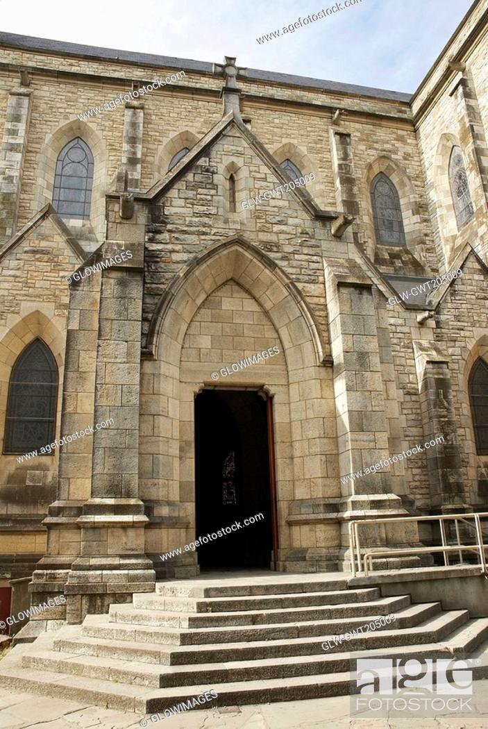 Stock Photo: Entrance of a church, Church of Our Lady Nahuel Huapi, San Carlos De Bariloche, Argentina.