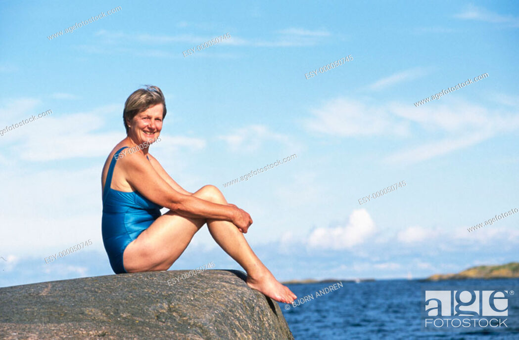 Stock Photo: Mature woman in bathing suit.