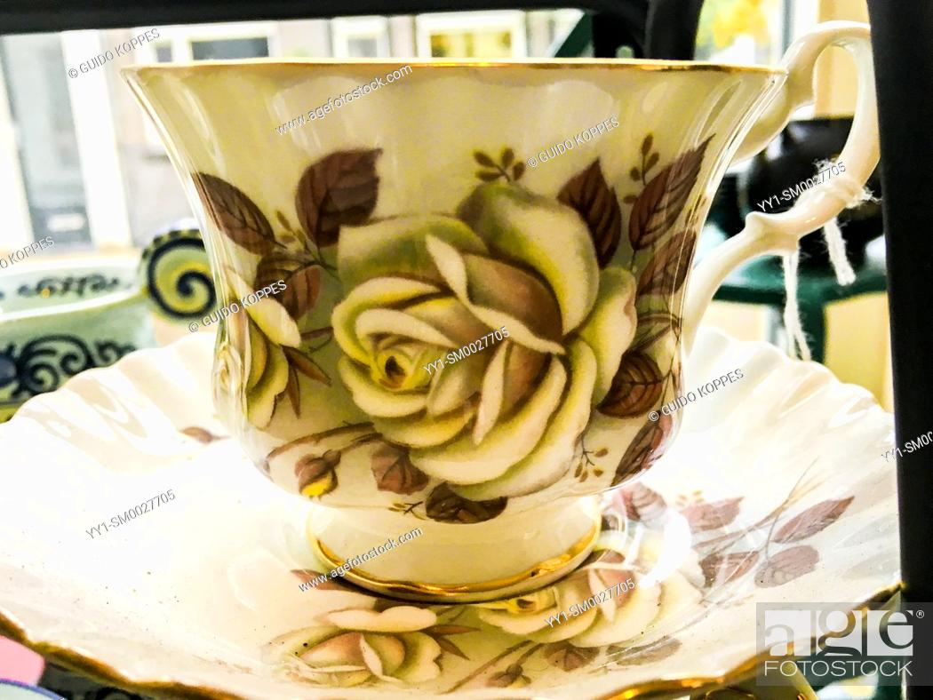 Stock Photo: Tilburg, Nertherlands. Old, Vintage Cup for Tea or Coffee on sale inside a retro store down town.