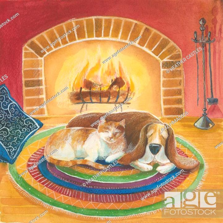 Stock Photo: A picture of cat and dog sleeping by the fire.