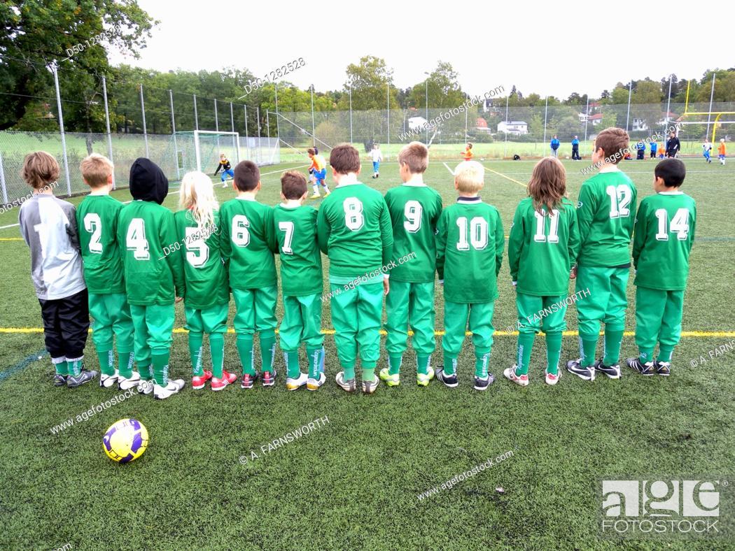 Stock Photo: Soccer team for 10 year old boys, Stockholm, Sweden.