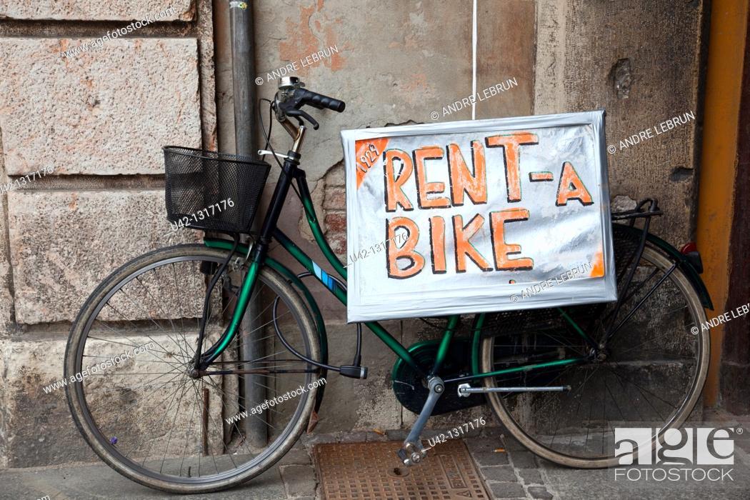 Stock Photo: Bike for rent in Ferrara, Emilia-Romagna, Italy.