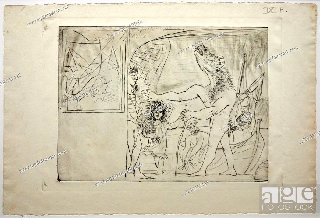 """Stock Photo: """"Minotaure aveugle guidé par une petite fille aux fleurs"""", 1934, Pablo Picasso, Picasso Museum, Paris, France, Europe."""