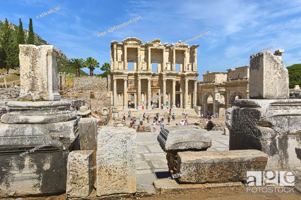 Stock Photo: Ephesus, near Selcuk, Izmir Province, Turkey. Library of Celsus, dating from circa 125 AD. Ephesus is a UNESCO World Heritage Site.