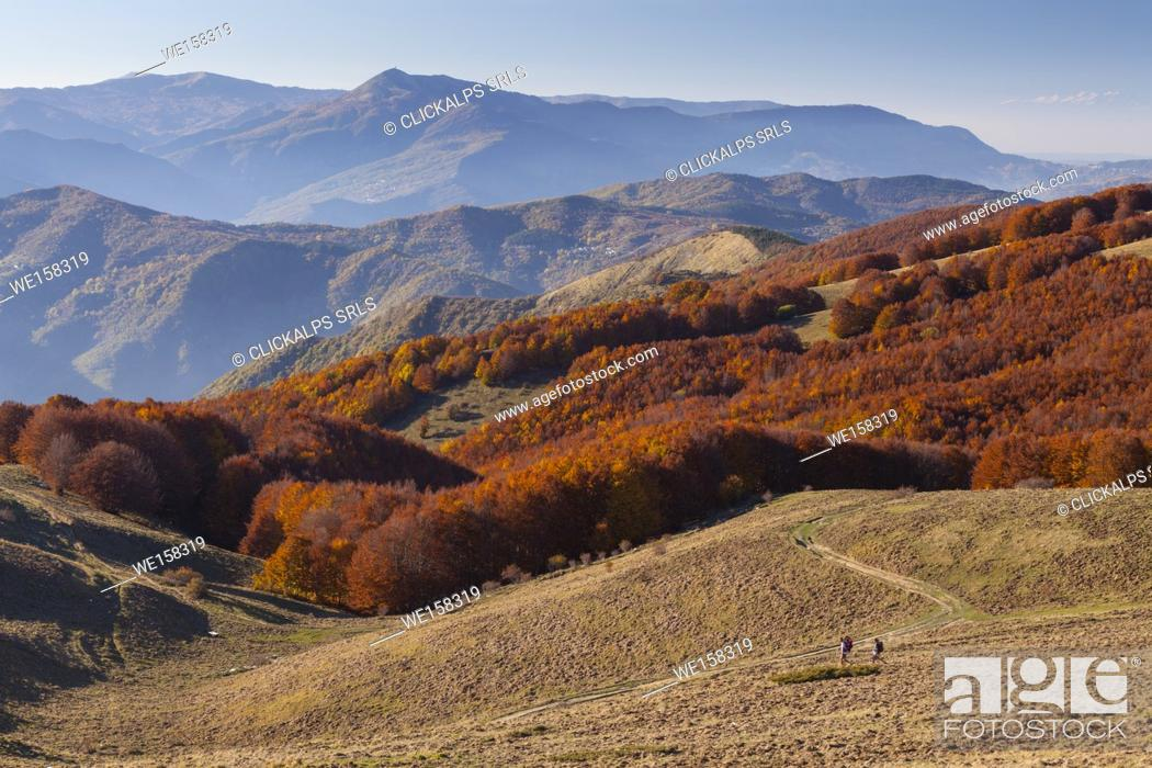 Stock Photo: Two hikers at near Crociglia pass, Nure valley, Picenza province, Apennines, Italy.