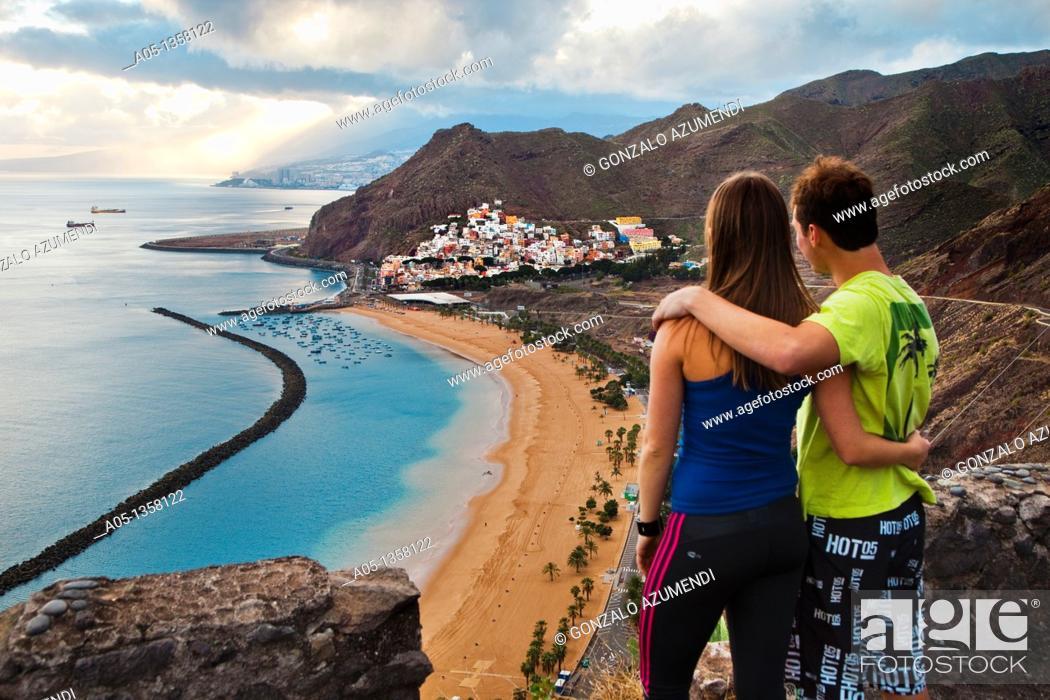 Stock Photo: Las Teresitas Beach and San Andres neighborhood  Tenerife  Canary Islands  Spain.