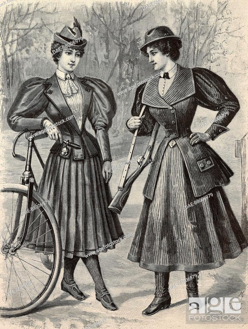 Imagen: Women wearing a cycling outfit and a hunting-sport outfit, creations by the Magasins du Louvre, engraving from La Mode Illustree, n 3, January 19, 1896, Paris.