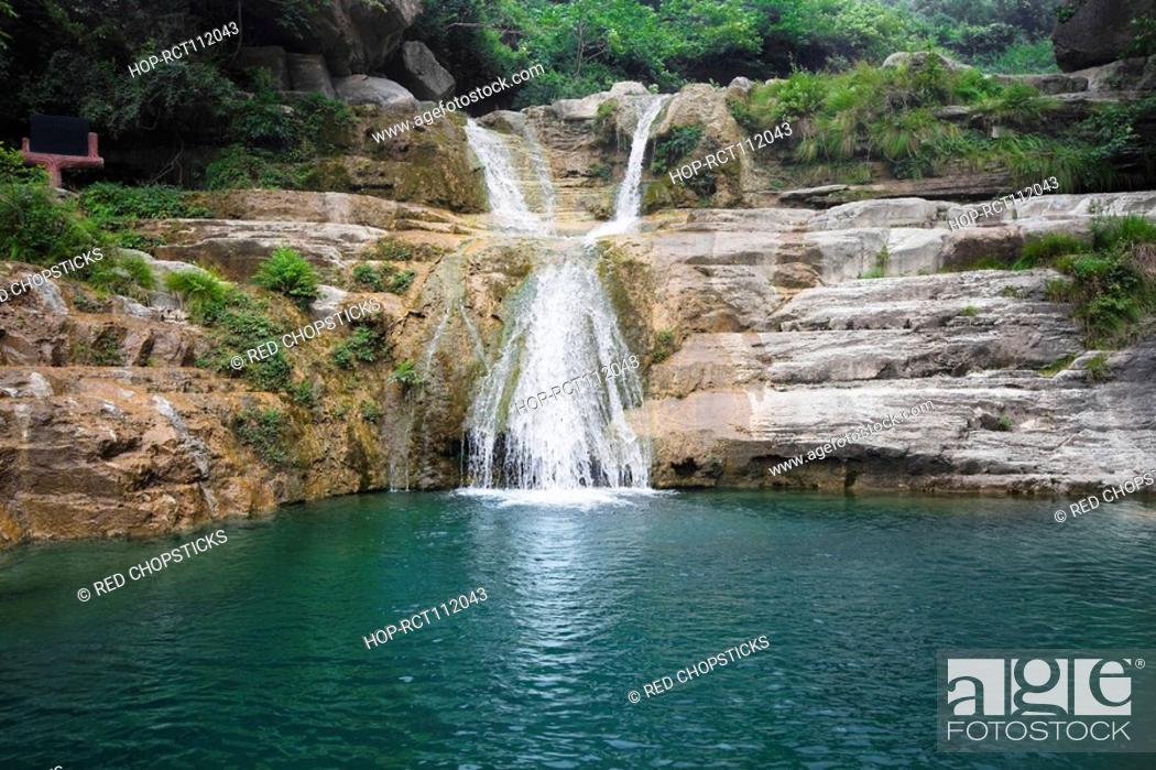 Stock Photo: Waterfall in a forest, Mt Yuntai, Jiaozuo, Henan Province, China.