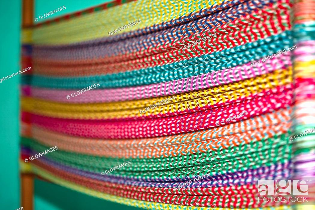Stock Photo: Close-up of multi-colored threads, Izamal, Yucatan, Mexico.