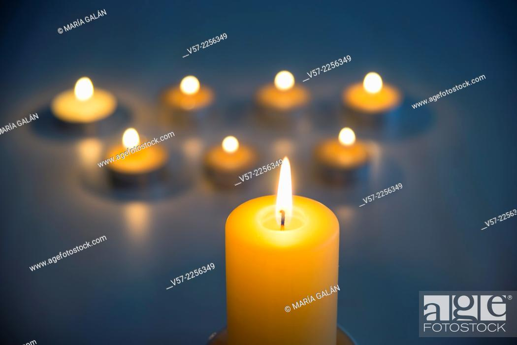 Stock Photo: Lit up candles.
