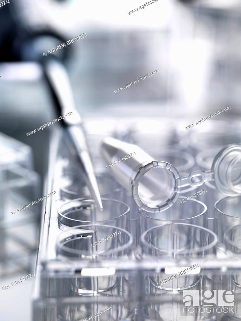 Imagen: Pipette used to deliver samples sitting on multi well plates used in laboratory experiments.