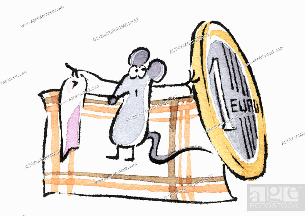 Stock Photo: Mouse holding euro and tooth French equivalent to the Tooth Fairy.