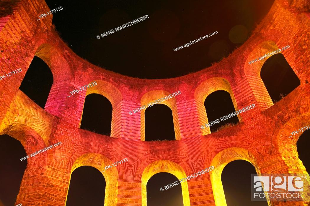 Stock Photo: ruins of the Kaiserthermen at night, Trier, Germany.