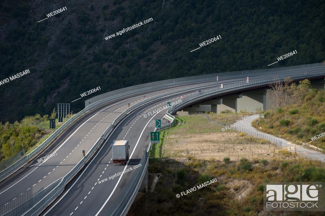 Stock Photo: Italian Motorway Salerno-Reggio Calabria: Viaduct Italia.