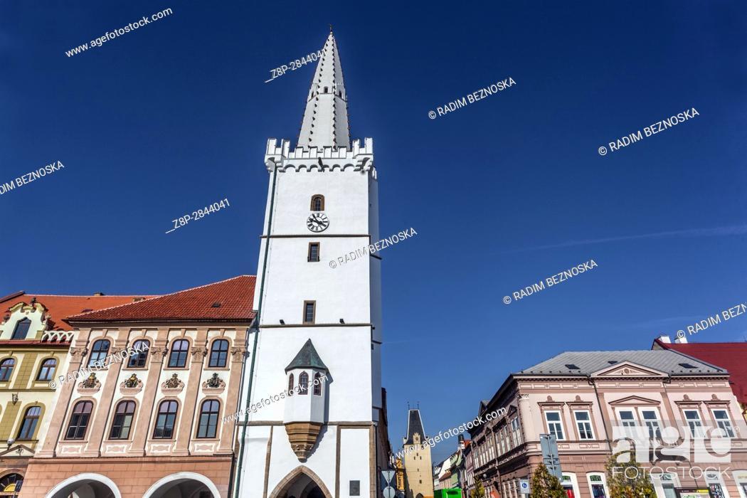 Stock Photo: Gothic City Hall Tower, Kadan, Northern Bohemia, Czech Republic, Europe.