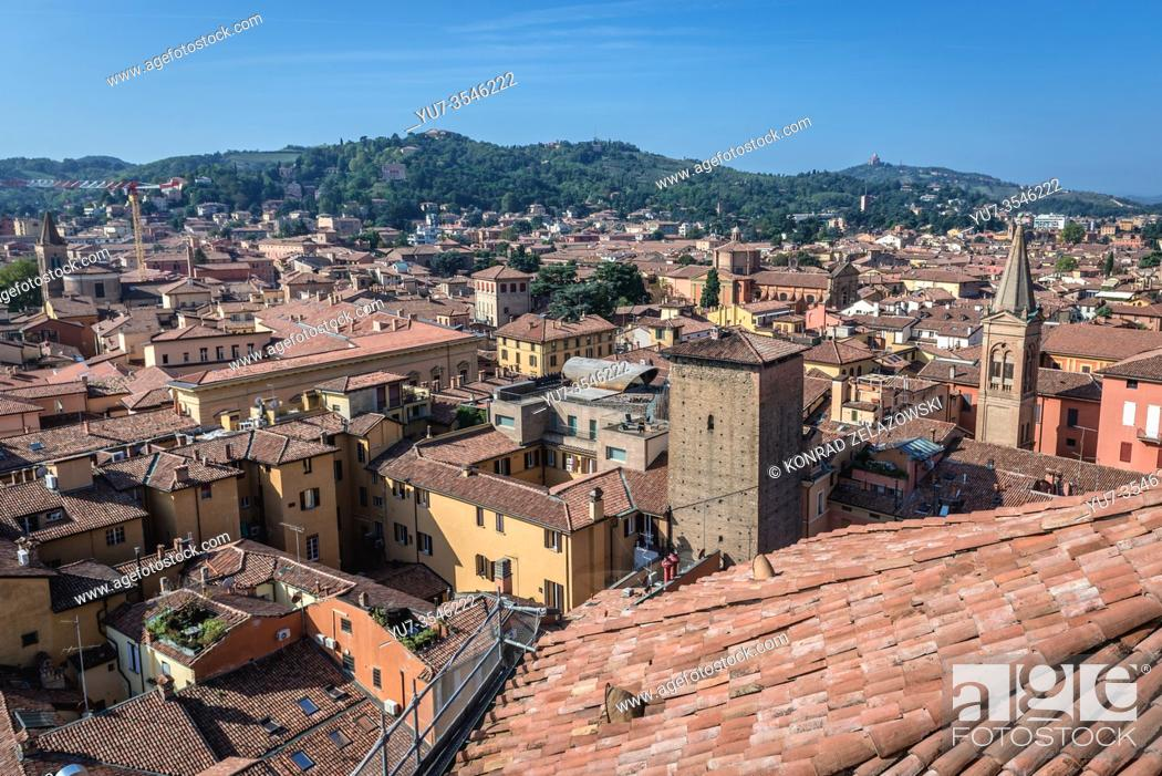 Stock Photo: Bologna, capital and largest city of the Emilia Romagna region in Italy - view from Basilica of San Petronio with Torre Galluzzi.
