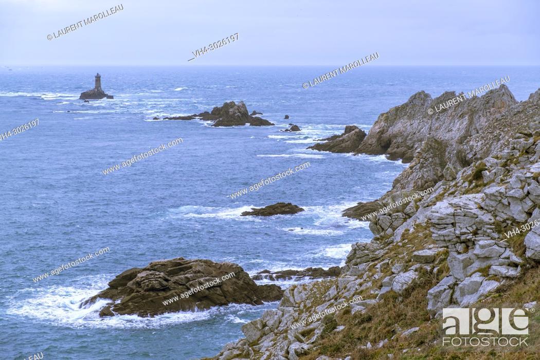 "Stock Photo: The """"La Vieille"""" Lighthouse in Raz de Sein, Pointe du Raz, Labelled the Grands Sites of France, Plogoff, Finistère Depatment, Brittany Region, France, Europe."
