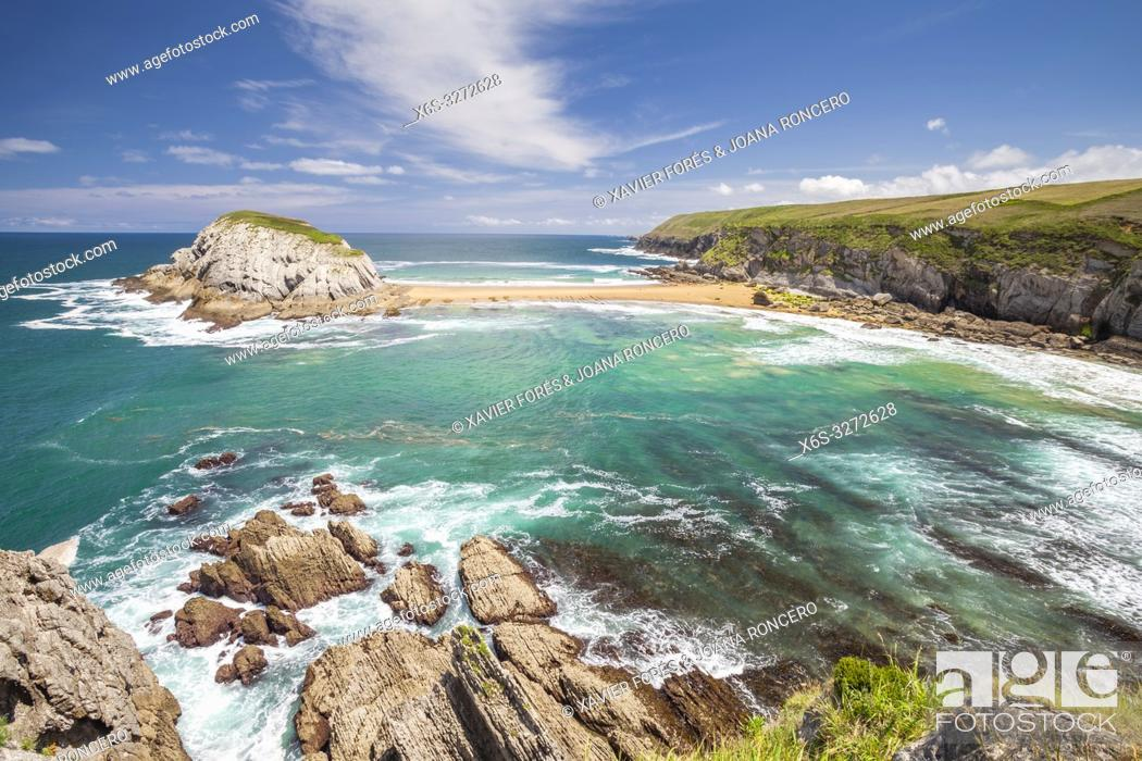 Stock Photo: Castro Island, Liencres, Cantabria, Spain.