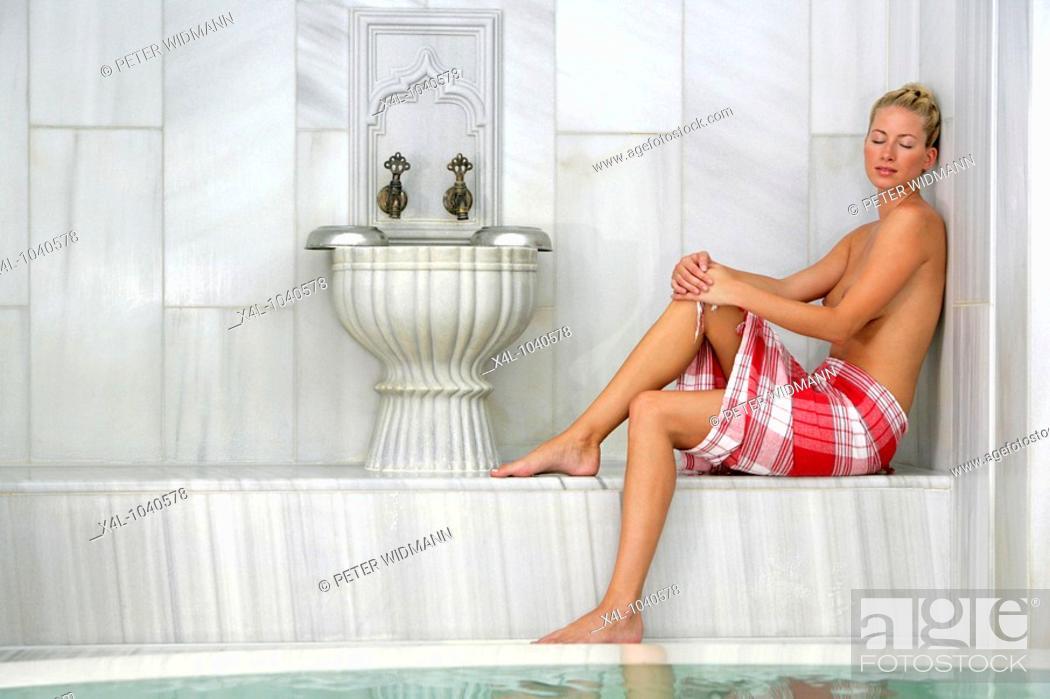 Stock Photo: woman relaxing in hammam bath.