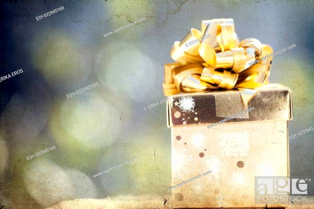 Stock Photo: Christmas background with present box.