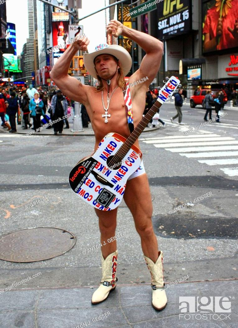 Stock Photo: Naked Cowboy Times Square, Manhattan. New York City. USA.
