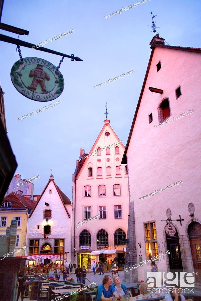Stock Photo: Vana Turg street,Tallinn, Estonia.