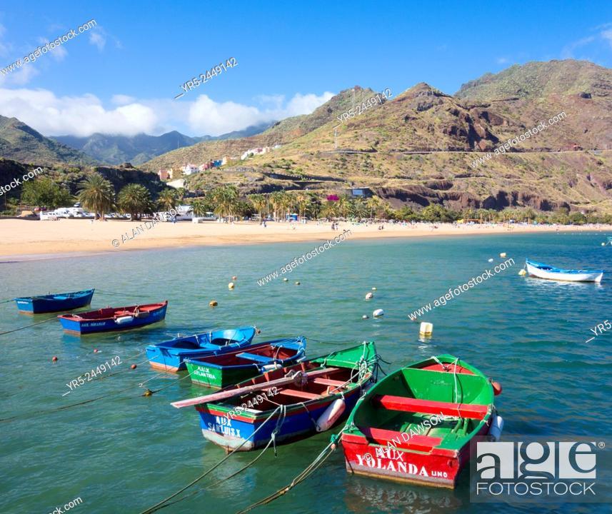 Stock Photo: Las Teresitas beach, near Santa Cruz on Tenerife with Anaga mountains in distance. Canary Islands, Spain.