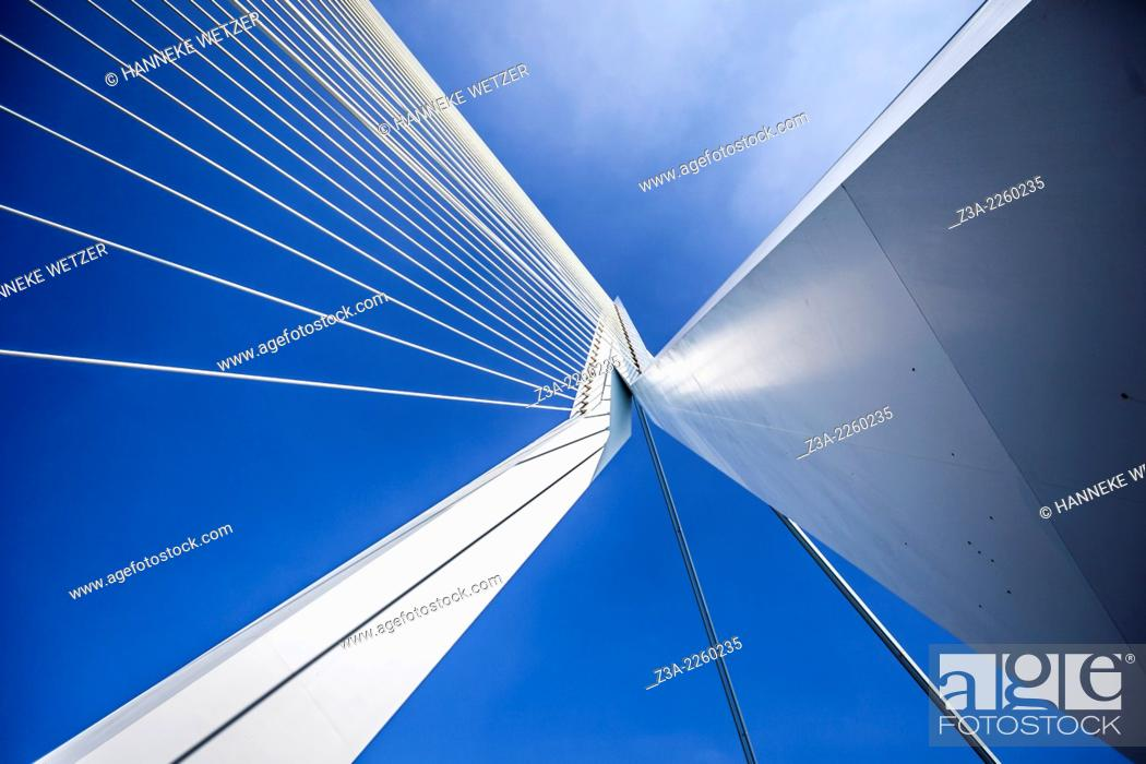 Stock Photo: Erasmus Bridge (Dutch: Erasmusbrug) is a cable-stayed bridge across the Nieuwe Maas, linking the northern and southern regions of Rotterdam, Netherlands.