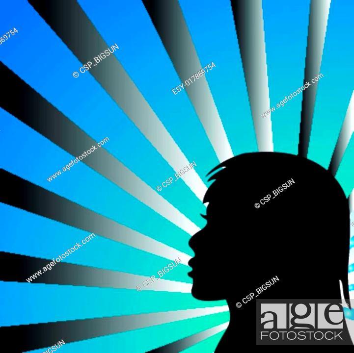 Stock Vector: Beauty girl eps background rays.