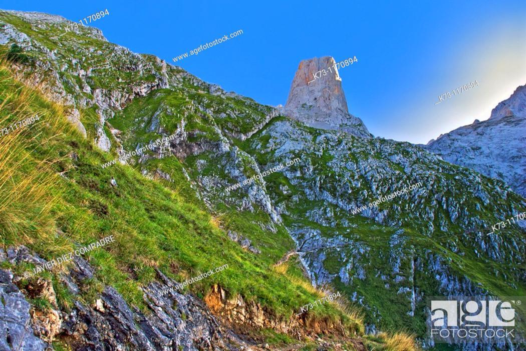 Stock Photo: Pico Urriello (Naranjo de Bulnes). Picos de Europa National Park. Asturias. Spain.