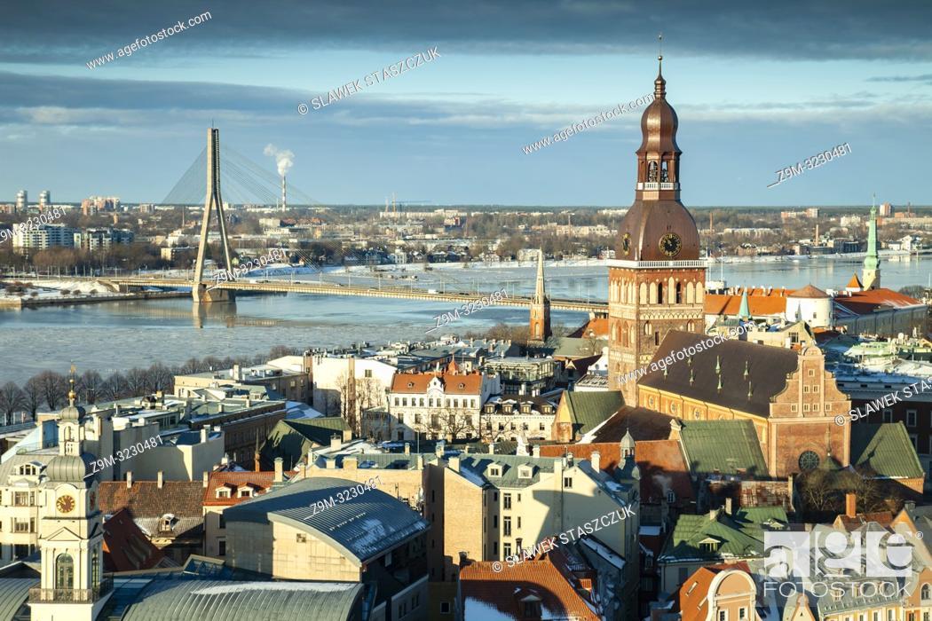 Stock Photo: Winter morning in Riga old town, Latvia.