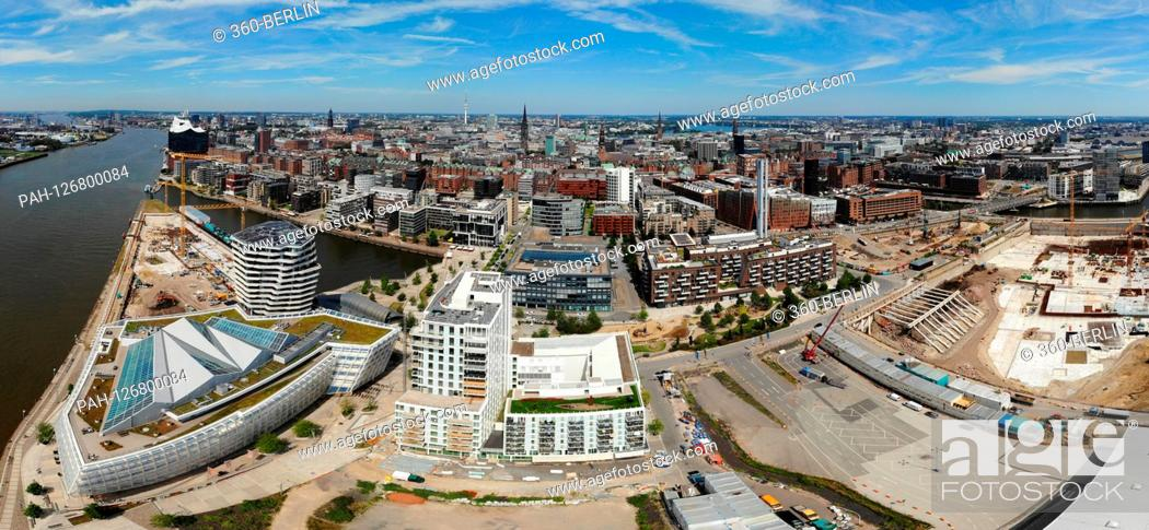 Stock Photo: Panorama aerial view: the skyline of Hamburg at new development areas and construction sites in the area of the old Speicherstadt u.a.