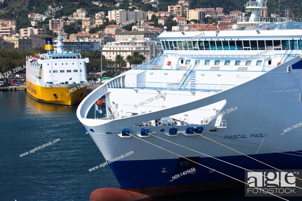 Stock Photo: Ships in the harbor at Bastia, Corsica, France.