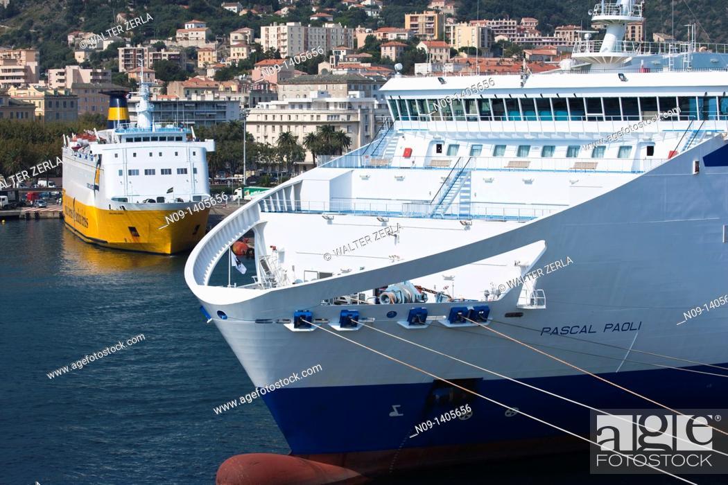 Stock Photo: Ships in the harbor at Bastia, Corsica, France.
