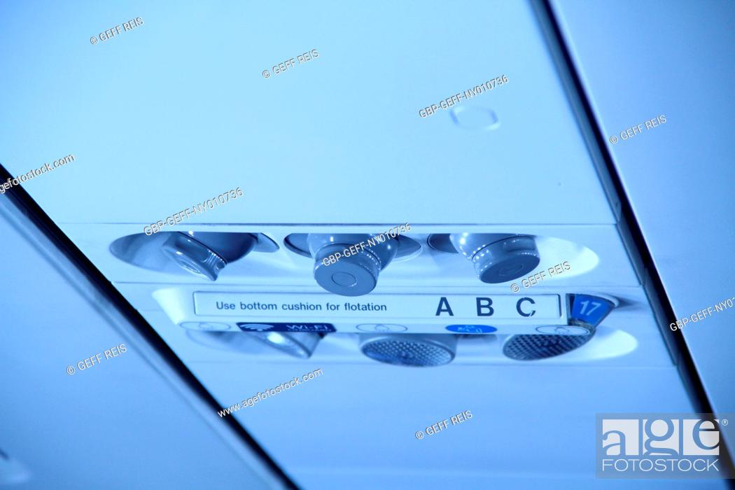 Stock Photo: Details of inside airplane.