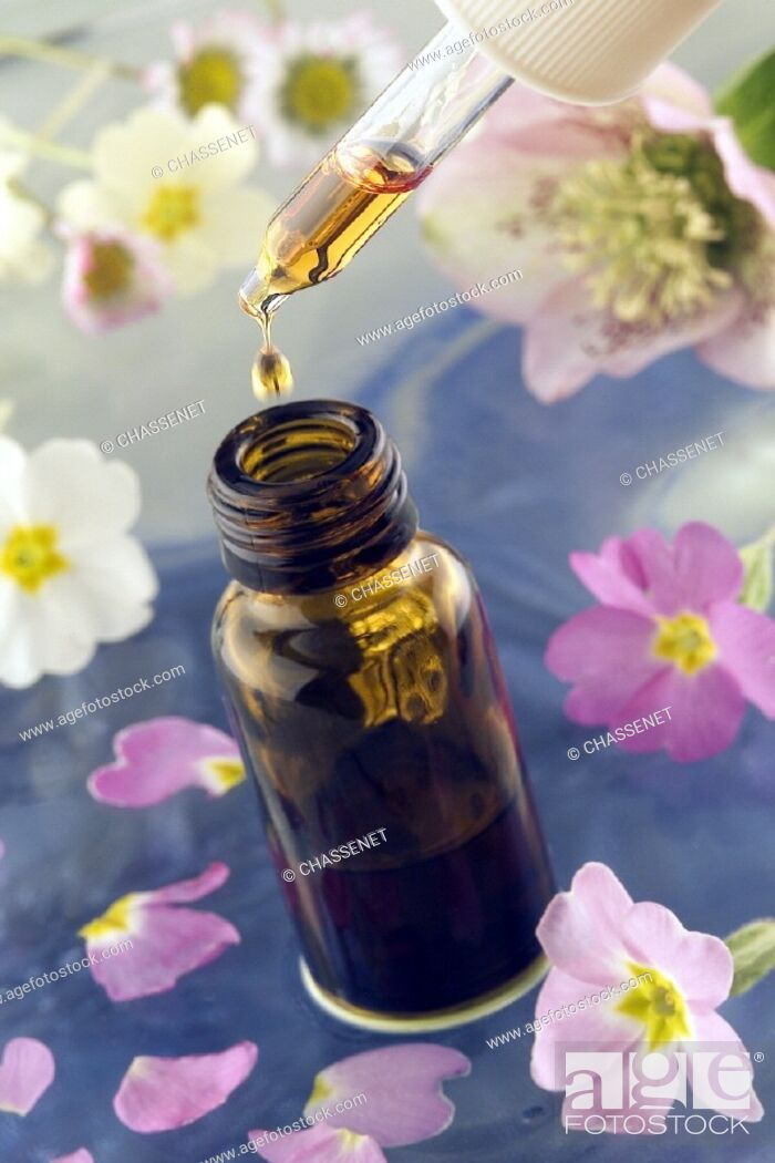 Stock Photo: HERBAL MEDICINE<BR>Essential oil.