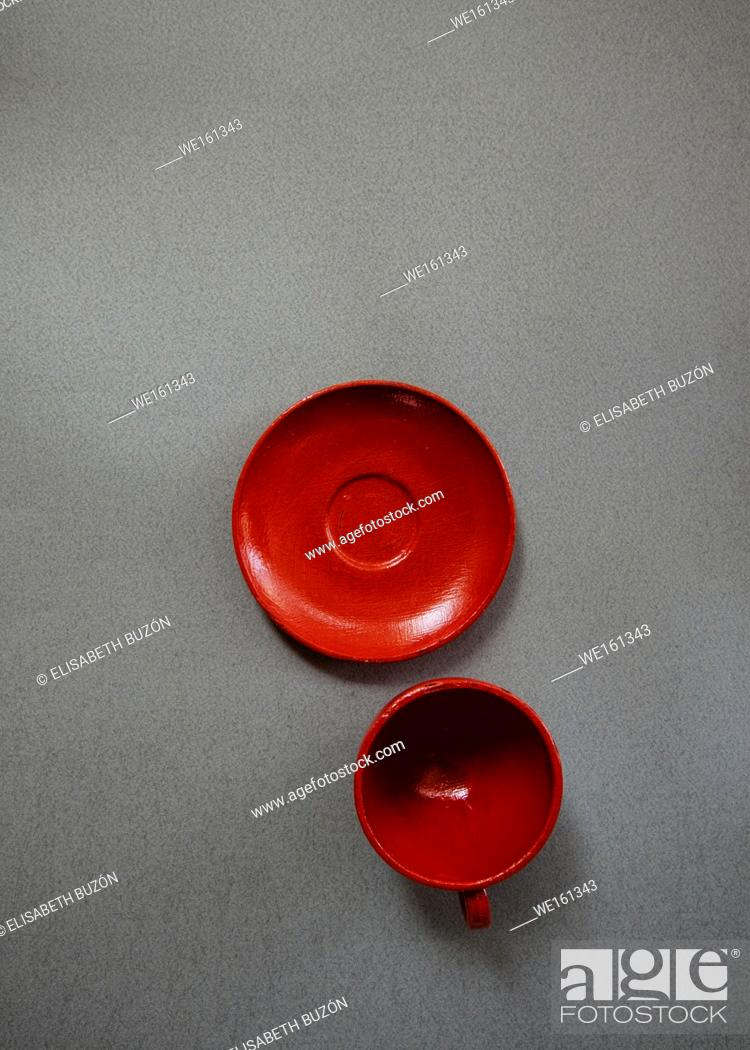 Stock Photo: Cup and plate red of glass.