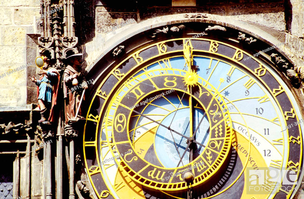 Stock Photo: Stare Metso (Old Town Square). City Hall tower. Astronomical clock. Prague. Czech Republic.