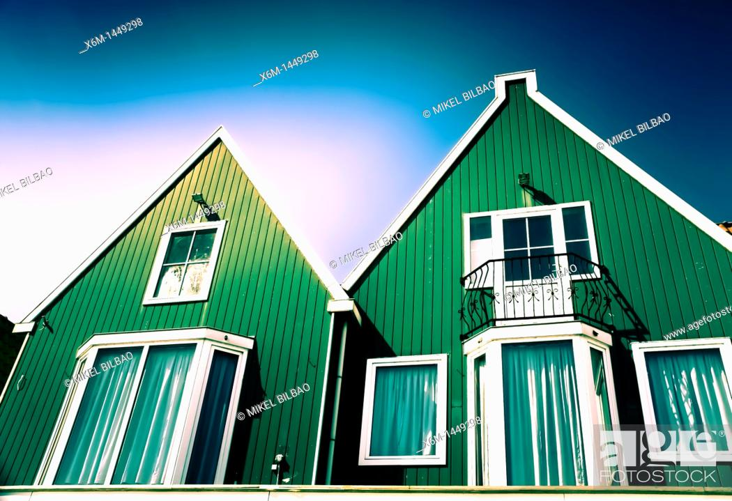 Stock Photo: Wooden house in Volendam   Holland, Netherlands, Europe.