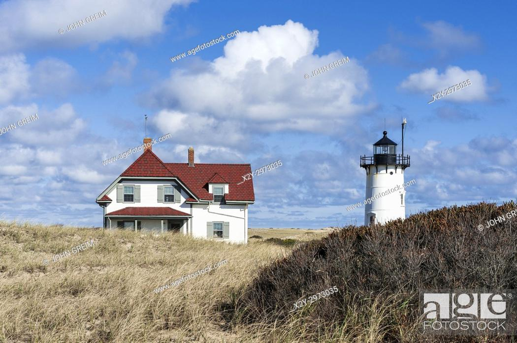 Stock Photo: Race Point lighthouse, Provincetown, Cape Cod, Massachusetts, USA.