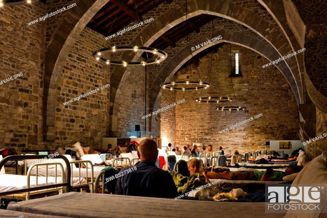 Stock Photo: double bed in a mediaeval pilgrims hostels, Spain, Basque country, Navarra, Roncesvalles, Orreaga.