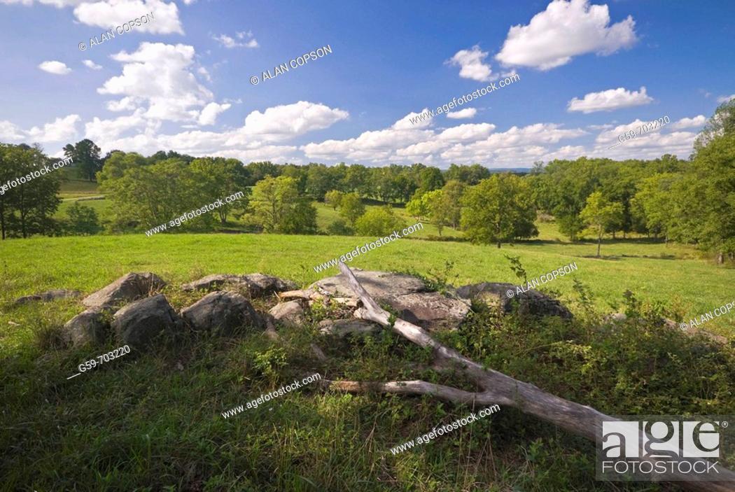 Stock Photo: USA Pennsylvania Gettysburg. Towards East Cemetery Hill.