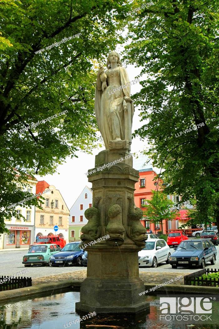 Stock Photo: Kraliky City square, Jeseniky, Northern Moravia, Czech Republic.