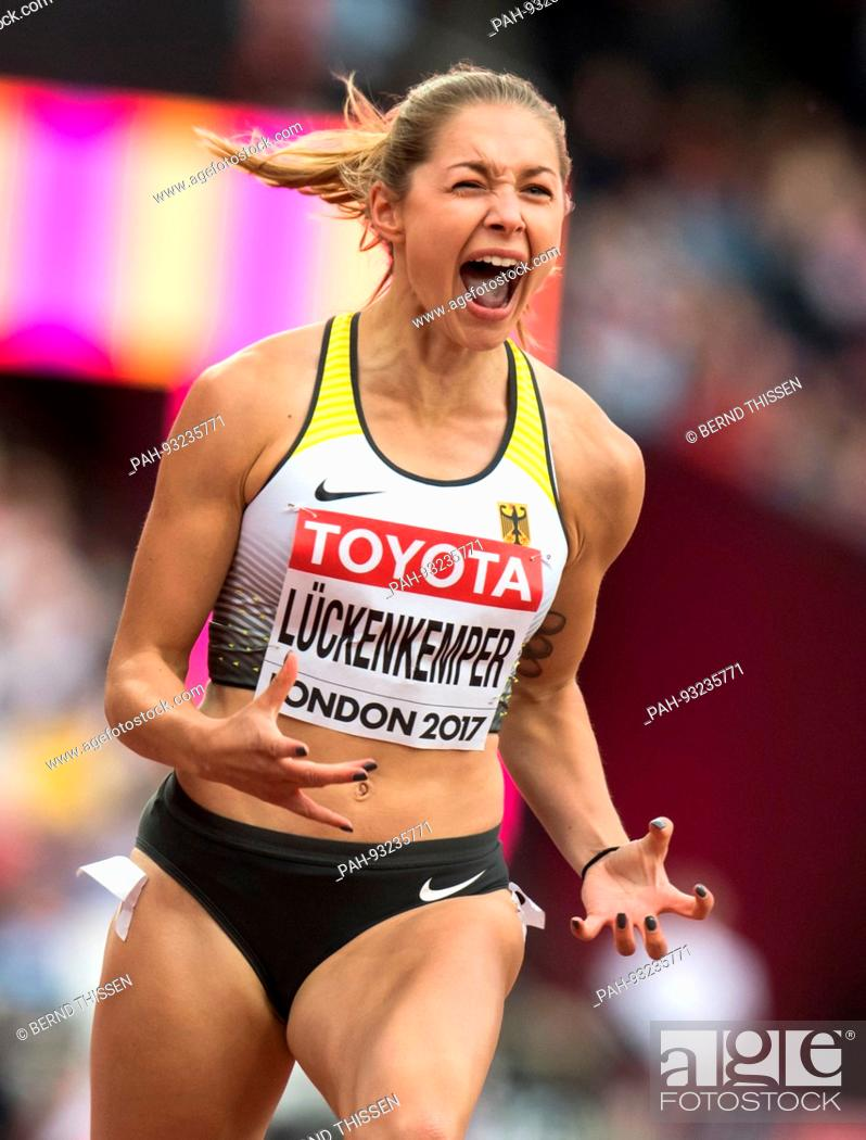 fae0adcf85 Stock Photo - dpatop - German sprinter Gina Luckenkemper celebrates her win  at the 100 meter qualifier with her personal record of 10