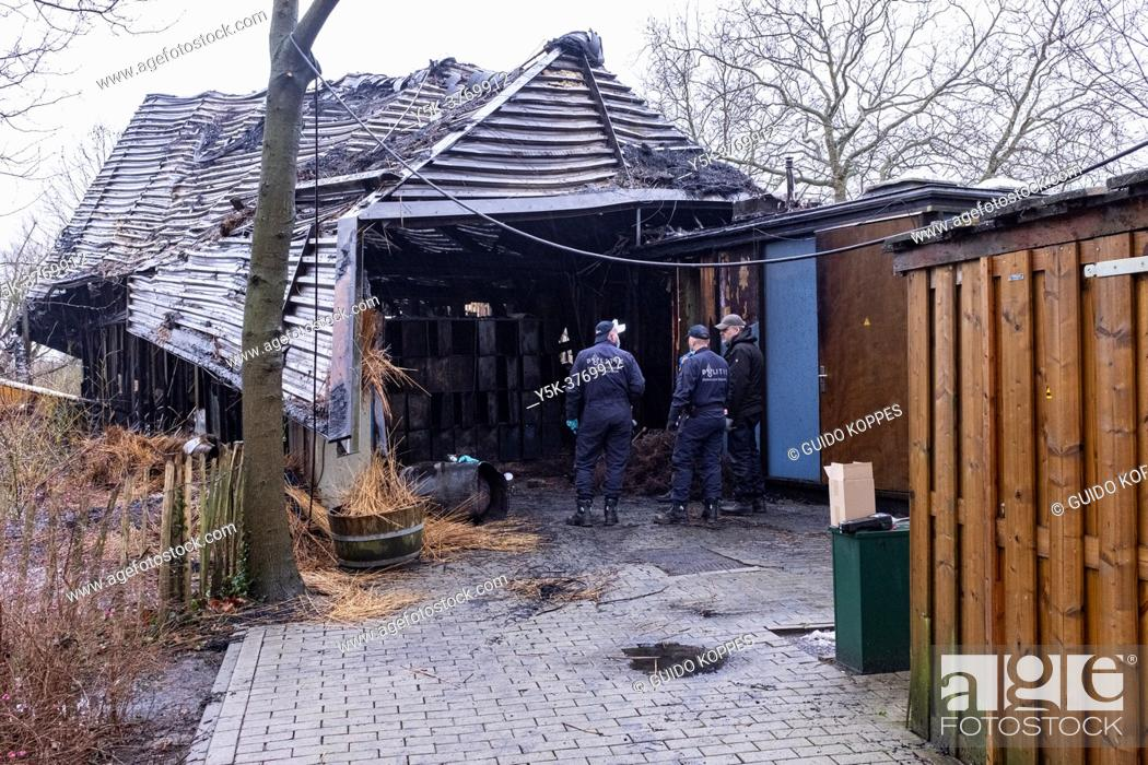 Stock Photo: Rotterdam, Netherlands. Results and aftermath of a devastating fire which demolished a children's playpark theater/.