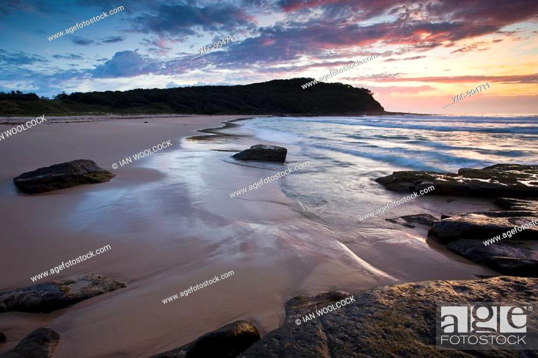Stock Photo: Dawn on Pretty Beach Murramarang National Park New South Wales Australia.